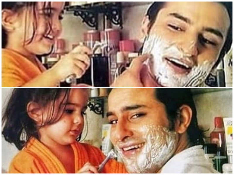 Throwback: Sara Ali Khan trying to shave her dad Saif Ali Khan's beard from her childhood days is all things cute