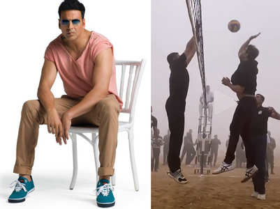 Akshay marks Army Day with a volleyball game