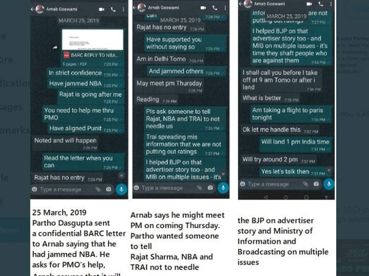 Trp Scam Prashant Bhushan Shares Screenshots Of Whatsapp Chat Between Arnab Goswami And Ex Barc Ceo India News Times Of India