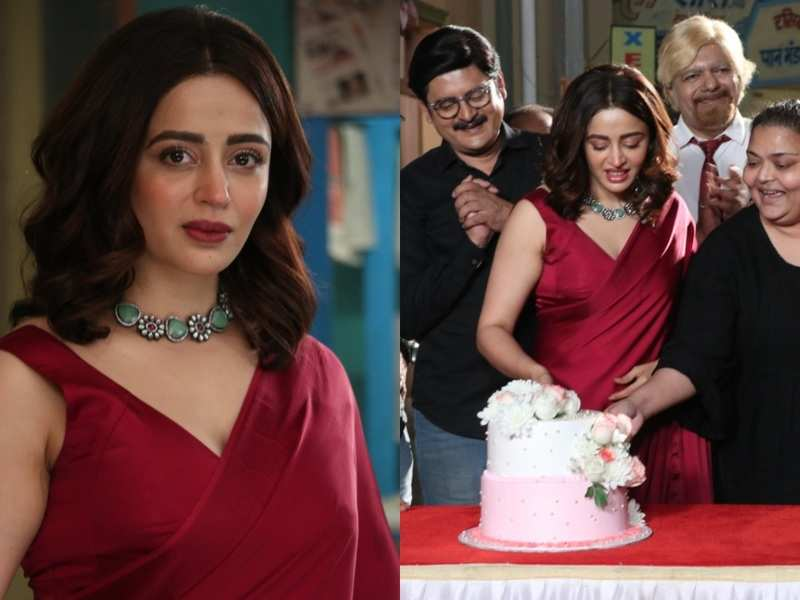 Nehha Pendse looks lovely as the new Anita bhabhi in a red saree; cuts a welcome cake on the sets of Bhabiji Ghar Par Hai