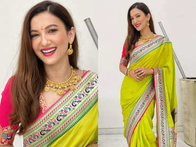 New bride Gauahar Khan stuns in parrot green Paithani sari