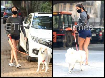 Malaika gets clicked with her dog Casper