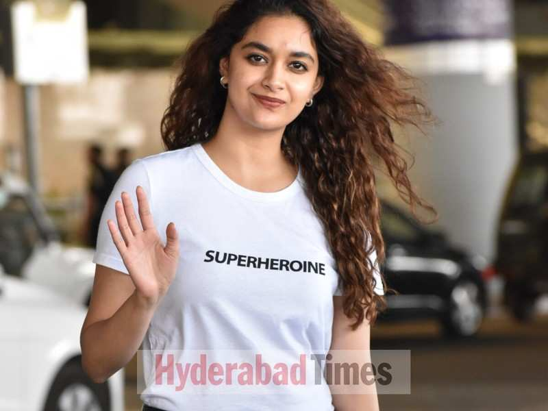 Spotted: Keerthy Suresh wears a 'superheroine' tee-shirt as she lands in Hyderabad