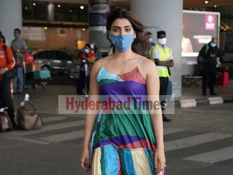 Spotted: Samantha Akkineni looks radiant in a colourful dress as she returns to Hyderabad
