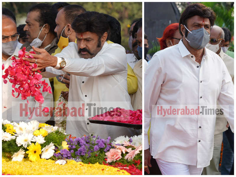 Balakrishna pays tribute to the late Nandamuri Taraka Rama Rao at NTR Ghat