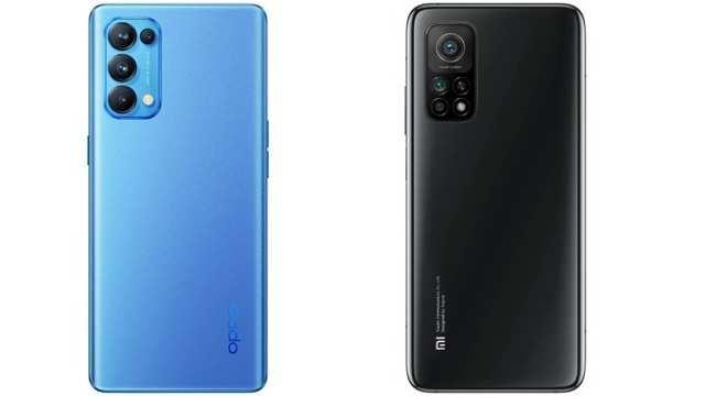 Oppo Reno 5 Pro 5G (left); Xiaomi Mi 10T (right)