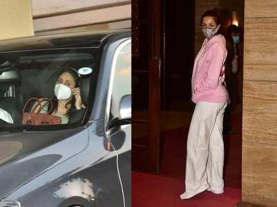 Pics: Bebo & Malaika arrives at Amrita's house