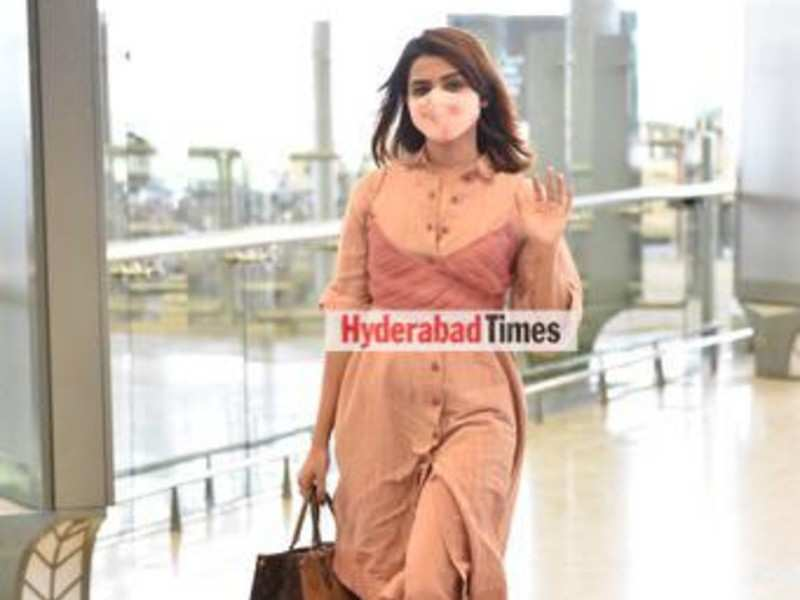 Spotted: Samantha Akkineni rocks peach co-ords as she waves us goodbye before boarding her flight