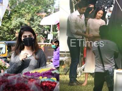 ETimes Paparazzi Diaries: Rhea Chakraborty buys flowers ahead of Sushant's birth anniversary; Ranbir Kapoor spotted shooting for an ad