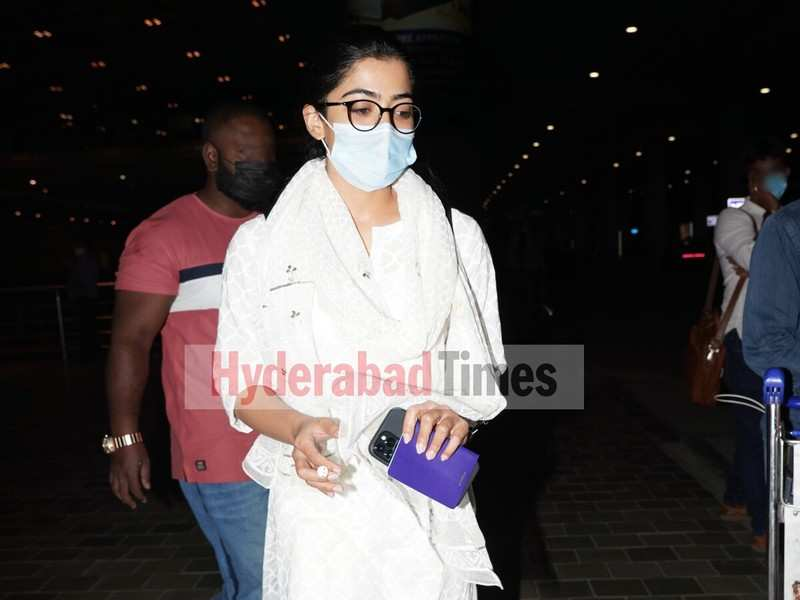 Spotted: Rashmika Mandanna looks angelic in white as she returns to Hyderabad
