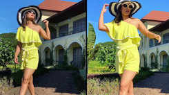 Hina Khan looks stunning in yellow outfit