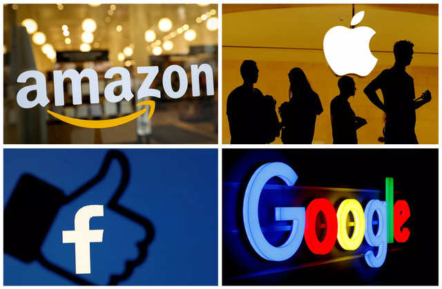 FILE PHOTO: The logos of Amazon, Apple, Facebook and Google in a combination photo./File Photo