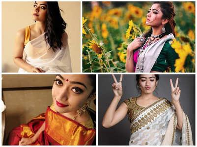 10 alluring saree pics of Rashmika Mandanna
