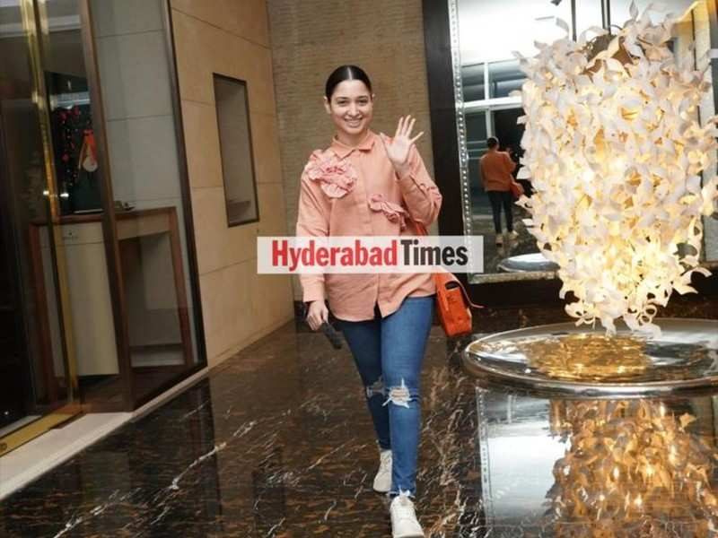 Spotted: Tamannaah Bhatia is all smiles in cream and peach look after wrapping up shoot for the day