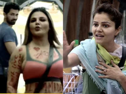 BB: Rakhi writes 'I Love Abhinav' on her body