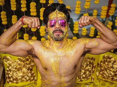 Varun gives a glimpse of his Haldi ceremony