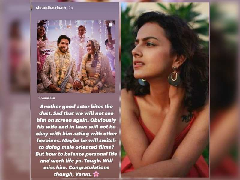 Will Varun Dhawan's in laws be okay with him acting: Shraddha Srinath's sarcastic take | Kannada Movie News - Times of India