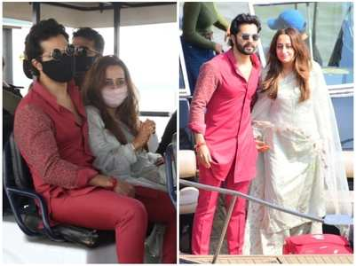 PICS: Newlyweds Varun-Natasha return home