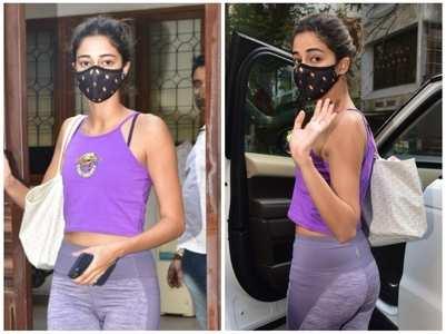 Pics: Ananya heads for a yoga session
