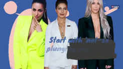 Take inspo from Lady Gaga, Priyanka Chopra Jonas, Jennifer Aniston; rock the no shirt blazer trend like a boss!