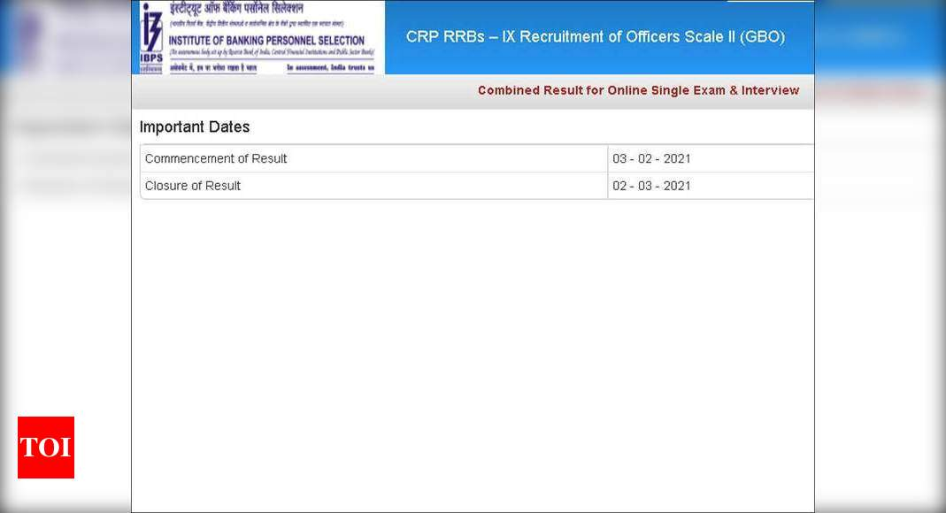 IBPS RRB – IX combined result of Officers Scale II announced, check here – Times of India