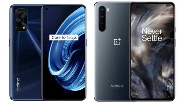 Realme X7 Pro 5G (left); OnePlus Nord (right)