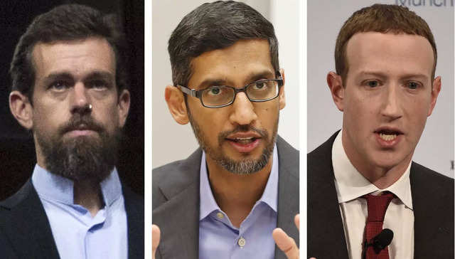 This combination of photos shows from left, Twitter CEO Jack Dorsey, Google CEO Sundar Pichai, and Facebook CEO Mark Zuckerberg. Photo/Jose Luis Magana, LM Otero, Jens Meyer