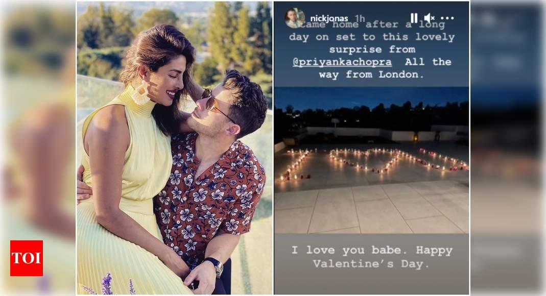 Here's how Priyanka Chopra surprised Nick Jonas on Valentine's day; pic inside - Times of India