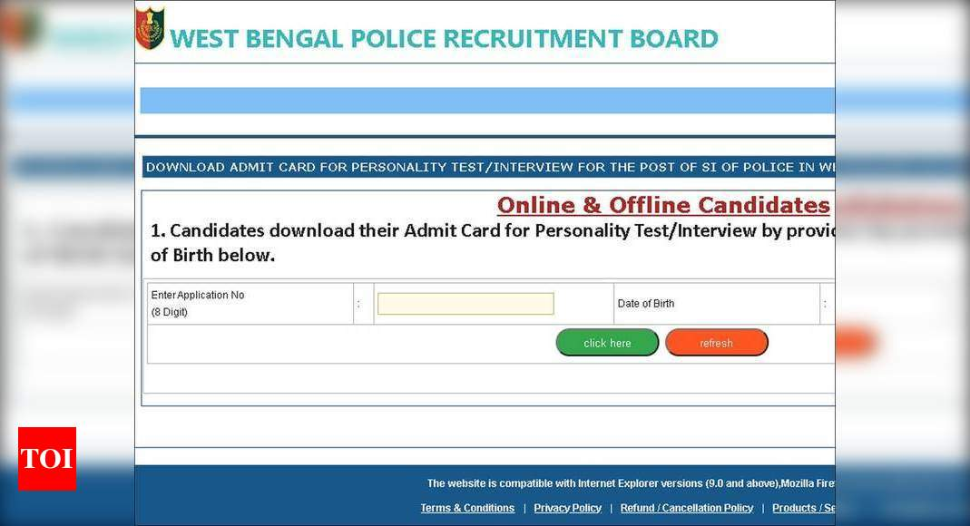 West Bengal Police SI Character Check/Interview admit card 2019 launched; obtain right here – Times of India