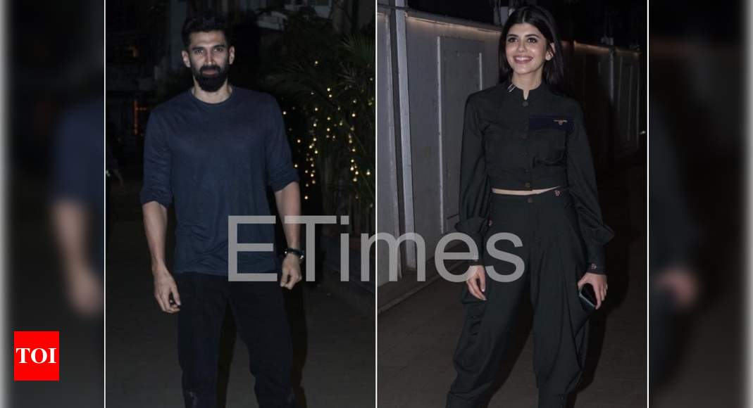 Photos: Aditya Roy Kapoor and Sanjana Sanghi get clicked as they attend wrap up party of their film 'Om: - Times of India