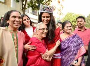 An emotional welcome for Manasa Varanasi as she returns home after two weeks as VLCC Femina Miss India World 2020
