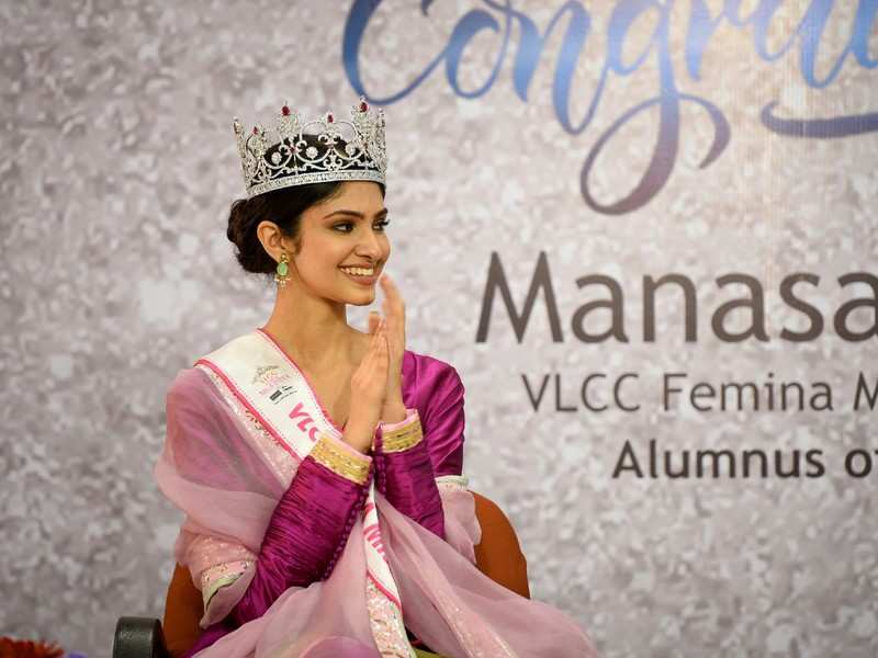 VLCC Femina Miss India World 2020 Manasa Varanasi gets emotional as she visits her alma mater Vasavi College of Engineering in Hyderabad