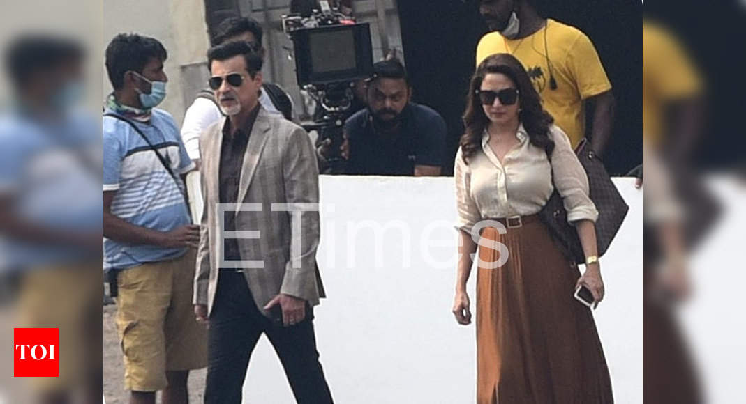 Exclusive Photos: Madhuri Dixit Nene and Sanjay Kapoor debut new looks as they shoot for their next ventu - Times of India