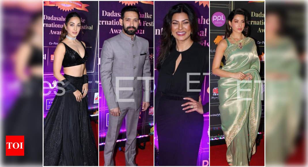 Kiara Advani, Sushmita Sen, Vikrant Massey, Nora Fatehi and other celebs arrive at the red carpet event of Dadasaheb Phalke International Film Festival Awards – Times of India