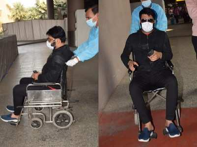 Kapil spotted at the airport in a wheelchair