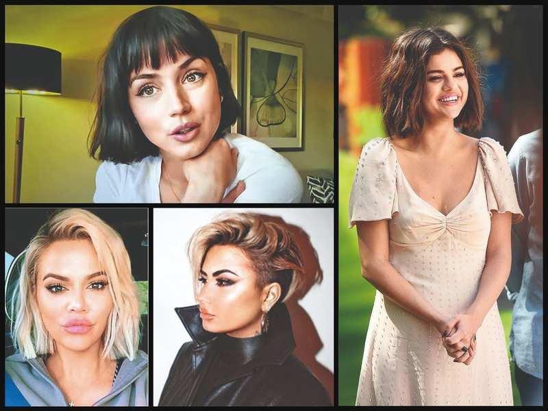 Clockwise: Ana de Armas, Selena Gomez, Demi Lovato and Khloé Kardashian