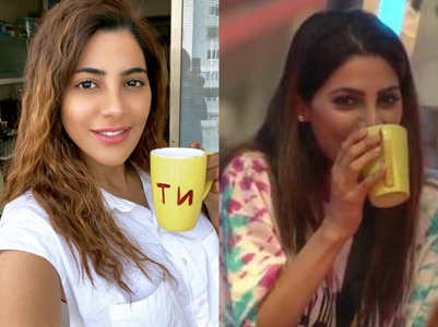 Nikki Tamboli sips coffee from BB mug