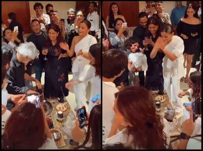 SLB cuts his b'day cake; Alia cheers
