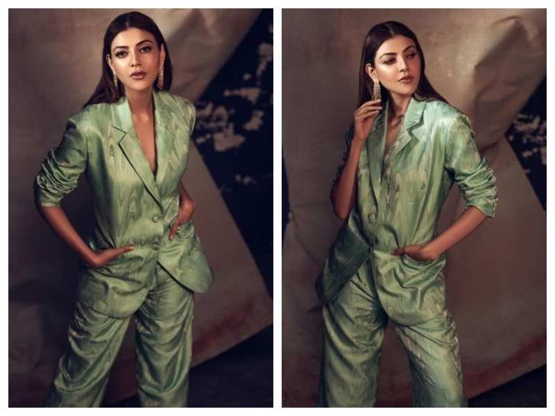 Photos: Kajal Aggarwal gives chic boss lady vibes in her green pantsuit look