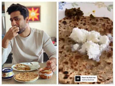Actor Vicky Kaushal joins 'Pawri Ho Rahi Hai' trend with stuffed paratha and white makkhan