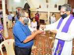 Touch-free Ash Wednesday in Goa