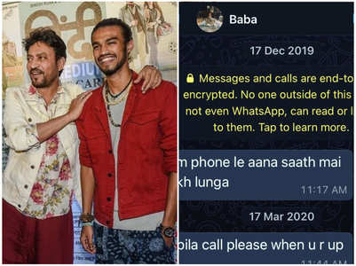 Babil shares screenshot of Irrfan's messages