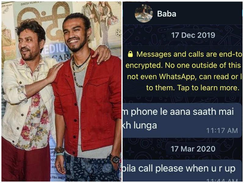 Babil Khan gets emotional as he shares a screenshot of papa Irrfan Khan's messages