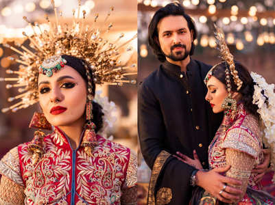 A Pakistani bride is in news for her uniquely stylish wedding costumes