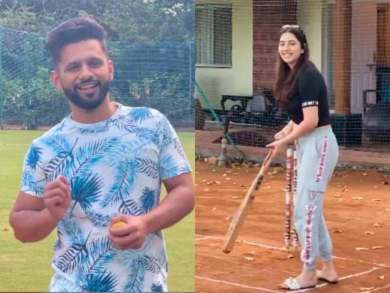 Bigg Boss 14's Rahul Vaidya plays cricket with girlfriend Disha Parmar on vacation; calls her Virat Kohli in the making