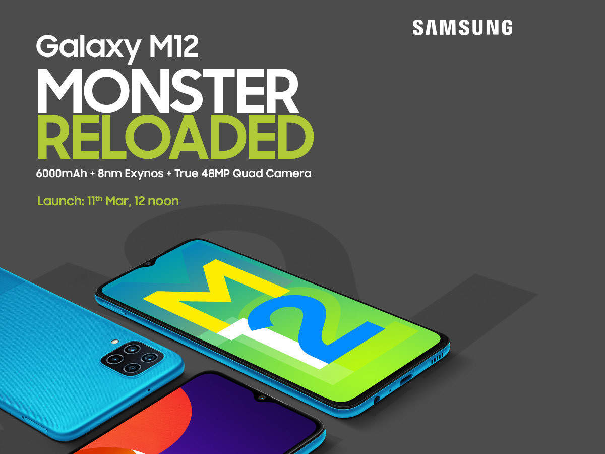 Samsung Galaxy M12 is a #MonsterReloaded with 6000mAh battery , 8nm Exynos processor, true 48MP quad cam and 90Hz Refresh Rate