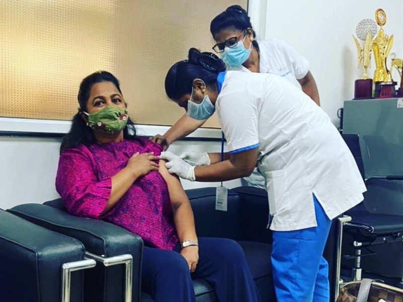 Radikaa Sarathkumar gets COVID-19 vaccination