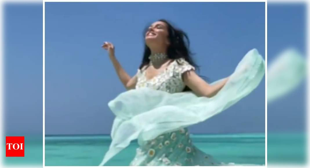 Watch: Shraddha Kapoor opts for a white and sea blue lehenga choli for cousin Priyaank Sharma's wedding festivities – Times of India