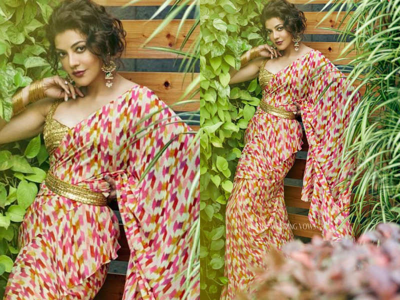 Kajal Aggarwal paired a printed sari with golden belt and it's the best trend this wedding season