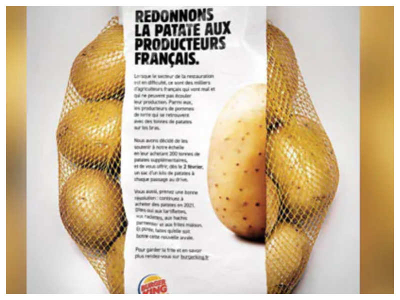 Burger King supports farmers by giving a bag of potatoes to customers